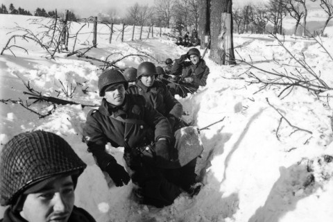 BELGIUM - JANUARY 01: American soldiers in a snowy ditch somwhere in Belgium during the counter offensive which would become known as the Battle of the Bulge. (Photo by John Florea/Time & Life Pictures/Getty Images)